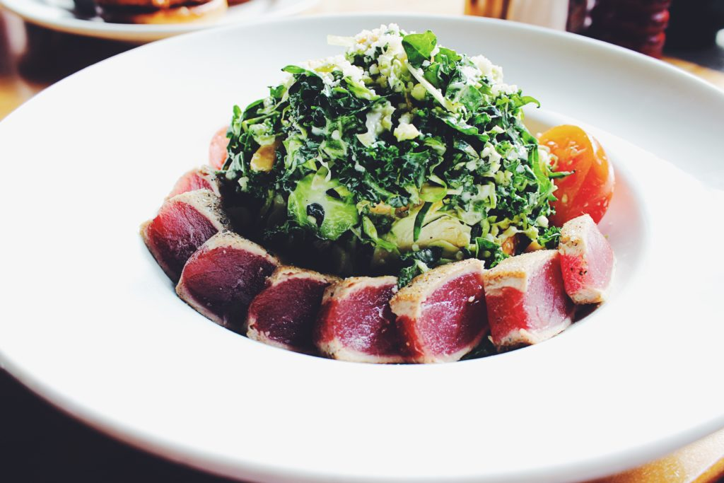 Brussel Sprouts salad with side of #1 Tuna at Doc B's Fresh Kitchen